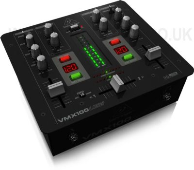 Behringer VMX100USB Pro 2-Channel DJ Mixer with USB Audio Interface BPM Counter